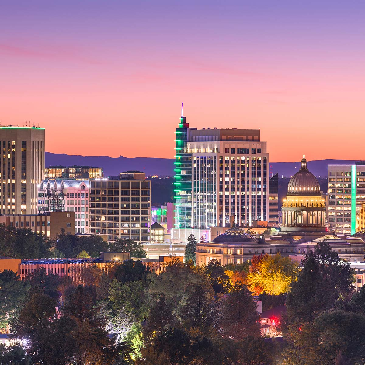 Boise skyline at dusk