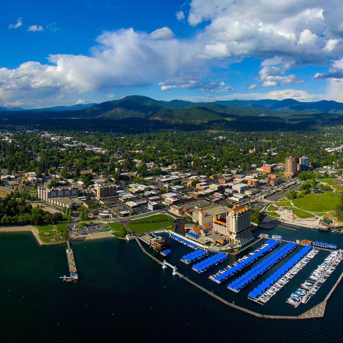Overhead shot of dock and Coeur d'Alene cityscape