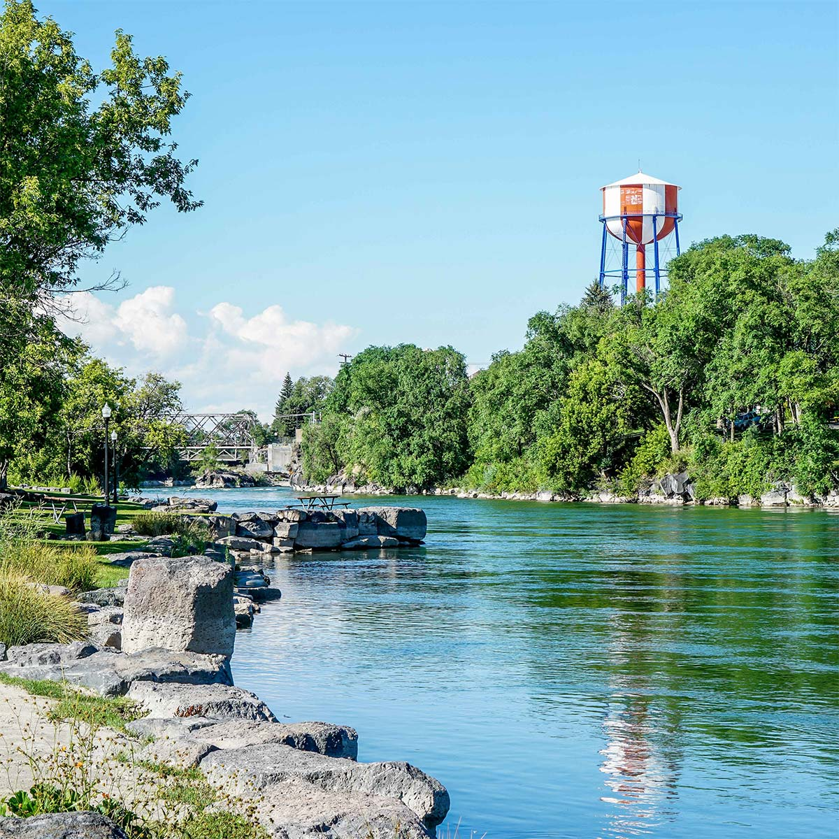 River with Idaho Falls water tower in background