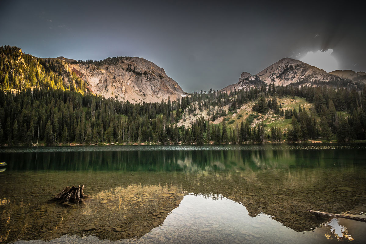 A landscape view of Fairy Lake in the Bridger Mountain Range